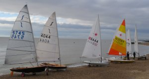Some of the competitors' boats ready to launch before the start of the race for the Fleet Championship