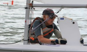 Eighty year old Eddie White, who is fitter than many people half his age, had a great start in his Laser