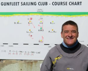 Ken Potts, the winner of the Tony Chadd Trophy, standing by the race board with the course on it