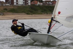 Andy Cornforth powering-up his Laser and winning the first race