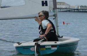 Cath Bicknell slips into the lead on the leg down to the Pier buoy