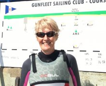 Yvonne Gough who won the second Autumn Series race in her Laser