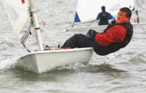 Pushing his Laser to the limit - Ken Potts gains first place in the third race of the Winter Series
