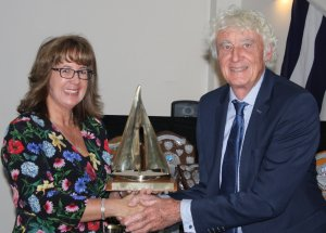 Helen Swinbourne presents Andy Dunnett with the Gunfleet Chase Trophy