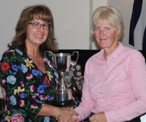 Helen presents the Jubilee Cup to winner Yvonne Gough