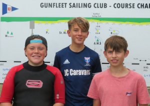 The top three Topper sailors in the second SOS class race.  From left to right:  Alfie Searles who cam second, Harrison Smith who won the race, and Ted Newson who came third.