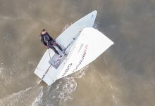 A seagull's view of John Tappenden winning the Summer Series in his Laser