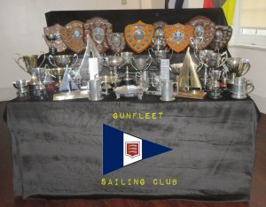 The trophy table with the Club's silverware on display