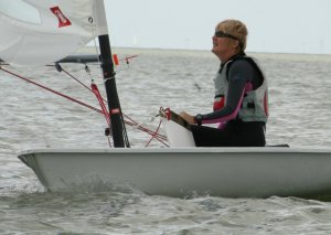 The only lady helm in the first race of the Gunfleet's Winter Series, Yvonne Gough, concentrating hard as she sails her Laser